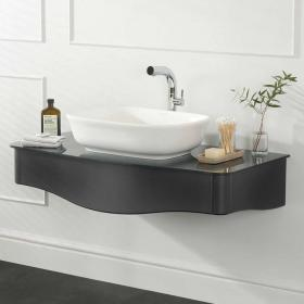 Victoria + Albert Lavello 114 Volo Anthracite Vanity Unit With Glass Top