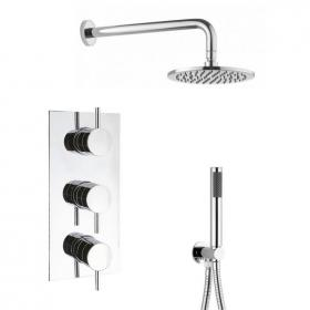 Crosswater Kai Lever Triple Shower Valve, Shower Head, Arm & Handset