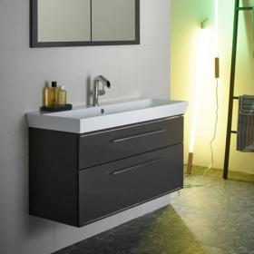 Roper Rhodes Scheme 1000mm Gloss Dark Clay Wall Mounted Vanity Unit & Basin