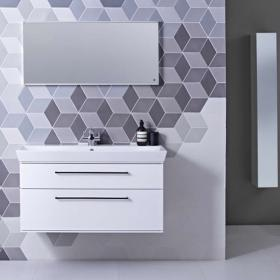 Roper Rhodes Scheme 1000mm Gloss White Wall Mounted Vanity Unit & Basin