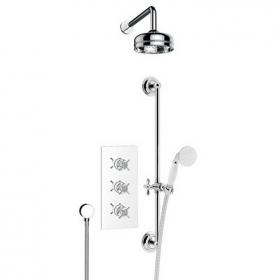 Heritage Dawlish Shower Valve With Deluxe Fixed Head & Flexible Kit