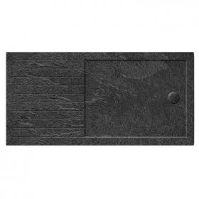 Simpsons 1600 x 800mm Grey Slate Effect Walk In 35mm Shower Tray With Drying Area