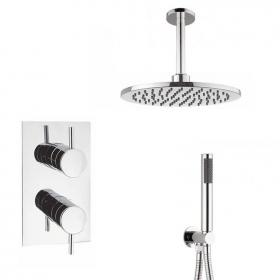 Crosswater Kai Lever Shower Valve With Ceiling Round Head & Handset