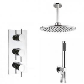 Crosswater Kai Lever Triple Shower Valve, Ceiling Round Head & Handset