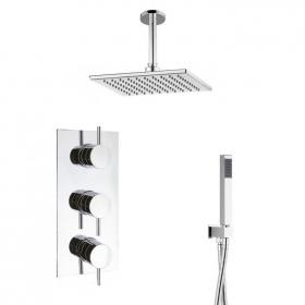 Crosswater Kai Lever Shower Valve With Square Shower Head, Arm & Handset