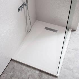 Simpsons 1400 x 800mm Rectangle 25mm Stone Resin Shower Tray & Linear Waste