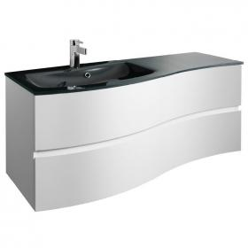 Bauhaus Svelte 120 White Gloss Vanity Unit & Charcoal Glass Basin