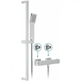 Vado Te Exposed Thermostatic Shower Valve With Sliding Rail Kit
