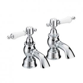 Heritage Glastonbury Chrome Bath Pillar Taps