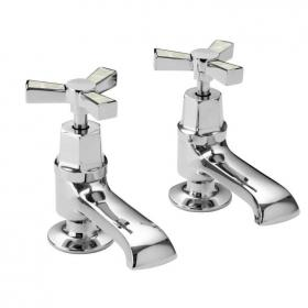 Heritage Gracechurch Mother Of Pearl Basin Pillar Taps