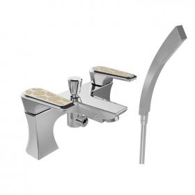 Heritage Lymington Lace Gold Bath Shower Mixer