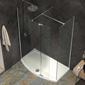 Kudos Ultimate 2 1500 x 700mm Curved Walk In Shower Enclosure & Tray