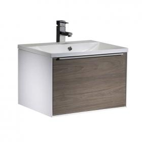 Roper Rhodes Vista White/Dark Elm 600mm Wall Mounted Unit & Basin