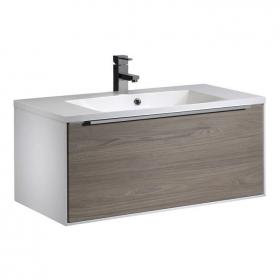 Roper Rhodes Vista White/Dark Elm 900mm Wall Mounted Unit & Basin