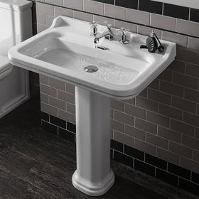 Bauhaus Waldorf 80 Three Tap Hole Basin With Pedestal