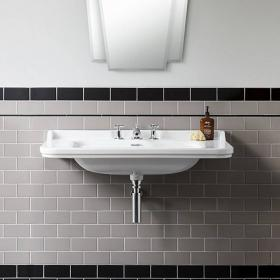Bauhaus Waldorf 100 Wall Mounted Three Tap Hole Basin
