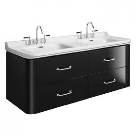 Bauhaus Waldorf 1500 Piano Black Two Drawer Vanity Unit & Basin