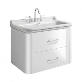 Bauhaus Waldorf 80 Gloss White Two Drawer Vanity Unit & Basin