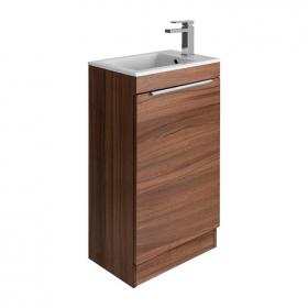 Bauhaus Zion Natural Walnut 500mm Floorstanding Vanity Unit & Basin