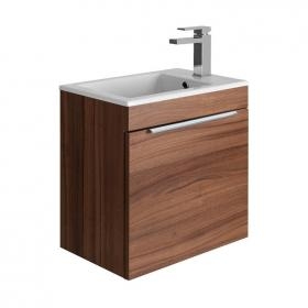 Bauhaus Zion Natural Walnut 500mm Wall Hung Drawer Vanity Unit & Basin