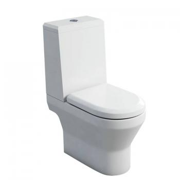 Britton Curve Open Back Close Coupled WC, Angled Cistern & Soft Close Seat