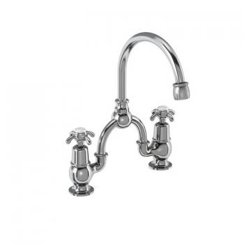 Burlington Anglesey 2 Tap Hole Bridge Basin Mixer With Curved Spout