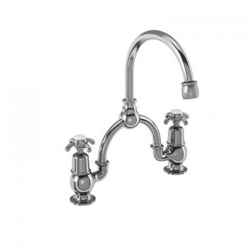 Burlington Anglesey 2 Tap Hole Bridge Basin Mixer With Curved Spout -230mm Centres