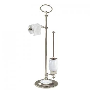 Arcade Nickel Freestanding Toilet Roll Holder With WC Brush & Holder