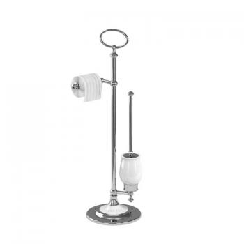 Arcade Chrome Freestanding Toilet Roll Holder With WC Brush & Holder