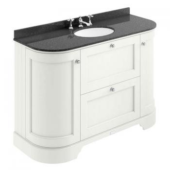Bayswater Pointing White 1200mm 2 Drawer Curved Vanity Unit & Marble Top