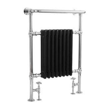Bayswater Clifford Chrome & Black Heated Towel Rail Radiator