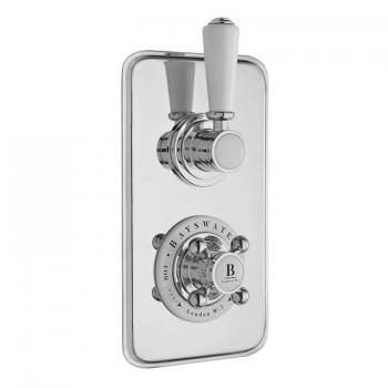 Bayswater White & Chrome Twin Concealed Shower Valve With Diverter