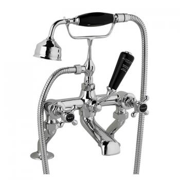 Bayswater Crosshead Black Deck Mounted Bath Shower Mixer