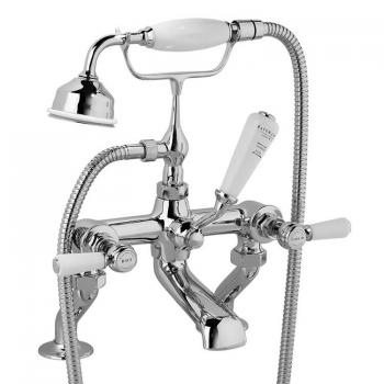 Bayswater White Lever Deck Mounted Bath Shower Mixer