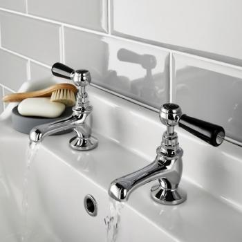 Hudson Reed Topaz Black Lever Basin Taps With Hexagonal Collars