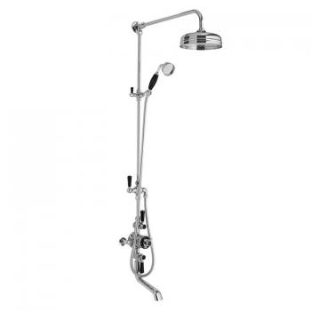 Hudson Reed Topaz Black Triple Exposed Shower Valve With Rigid Riser & Bath Spout