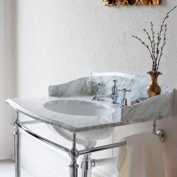 Burlington Sophia Georgian Marble Basin & Chrome Wash Stand