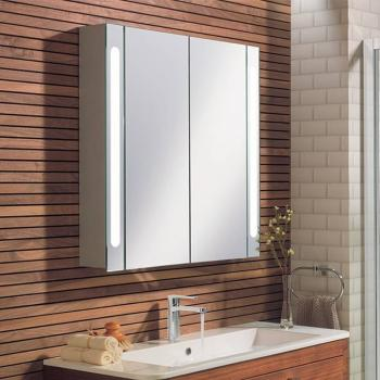Bauhaus Electric 800mm Aluminium Mirror Cabinet