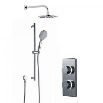 Britton Contemporary 2025 Dual Outlet Digital Shower, Round Shower Head & Slide Rail