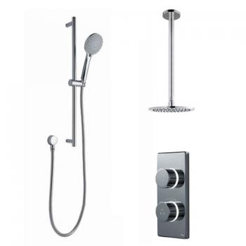 Britton Contemporary Digital Shower Valve, Ceiling Round Head & Slide Rail