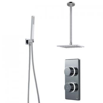 Britton Contemporary Digital Shower Valve, Ceiling Square Head & Handspray