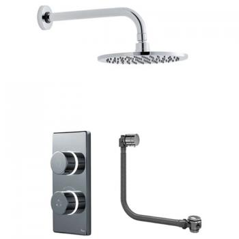 Britton Contemporary Digital Bath/Shower Valve, Round Head & Overflow Bath Filler