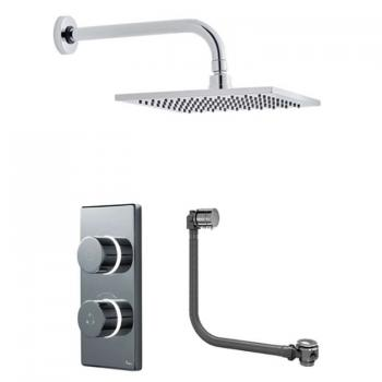 Britton Contemporary Digital Bath/Shower Valve, Square Head & Overflow Bath Filler