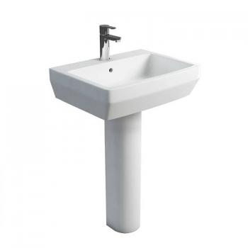 Britton Cube 600mm Basin & Round Fronted Pedestal