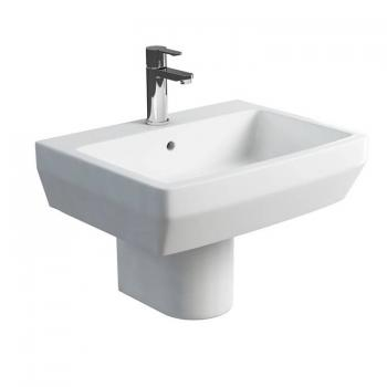 Britton Cube 600mm Basin & Round Fronted Semi Pedestal