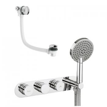 Crosswater Dial Bath Valve With Central Trim, Ethos Handset & Overflow Filler