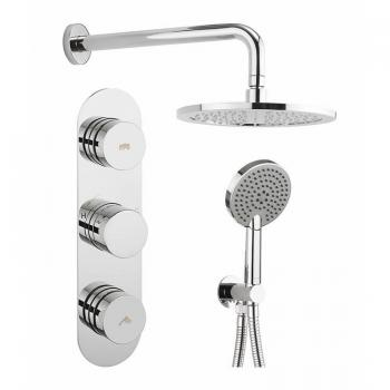 Crosswater Dial 2 Control Shower Valve With Central Trim, Shower Head & Ethos Handset