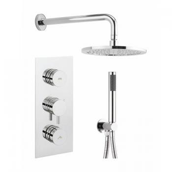 Crosswater Dial 2 Control Shower Valve With Kai Lever Trim, Shower Head & Handset