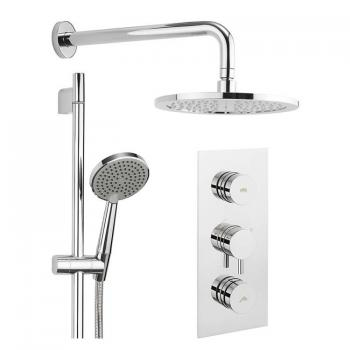 Crosswater Dial 2 Shower Control With Kai Trim, Fixed Shower Head & Shower Handset