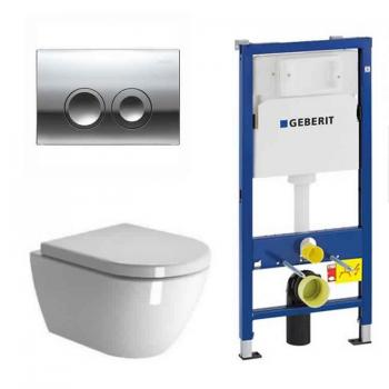 Zero Wall Hung Toilet & Seat With Geberit 1120mm Cistern Frame & Flush Plate